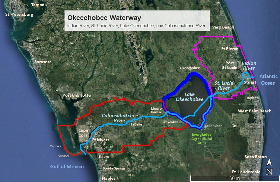Lake okeechobee fishing map lake okeechobee camping for Caloosahatchee river fishing